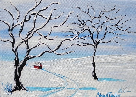 Covered Bridge, Original Painting,  Wall Art, Winter Wonderland, Frozen Trees, Fine Art, SALE get half off, use coupon code FEB50