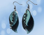 ON SALE: Black & Blue Leather Leaf Earrings with Black Faux Diamond Chain