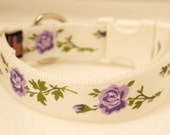 Dog Collar Purple Rose Chic Floral Lavender Vine Floral Flowers Shabby Small Medium Large Extra Large XXL