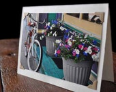 Photo Greeting Card with bicycle and flowerpots streetscape - Handmade - Photography - Blank Card