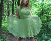Key Mine Lime 1960s Vintage Miss Elliette California Mod Lime Green Beaded Sleeveless Mini Dress Sz Large / Extra Large / 16
