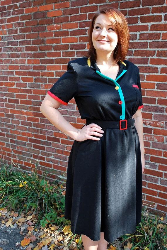 No Diner Is Finer 1980s Vintage New Wave Waitress Shirt Dress Sz 12 P