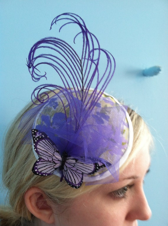 Violet Butterfly Fascinator with Purple Tulle and Plume