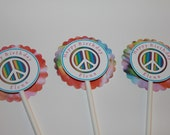 Peace Cupcake Toppers- Set of 12