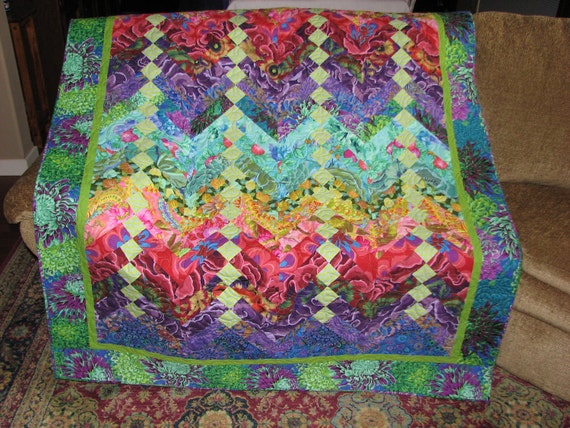 Vibrantly colored Westminster Fibers 56x 85 Inch quilt.