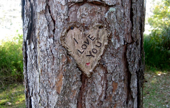 I love you heart carved for tree pottery sign