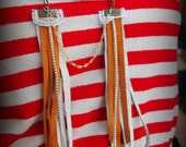 bamboo coral leather fringe necklace