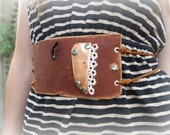 brown leather copper and vintage lace belt