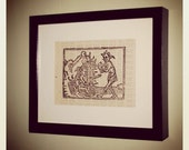 Screen Print of Das Buch Belial on Vintage Book Paper
