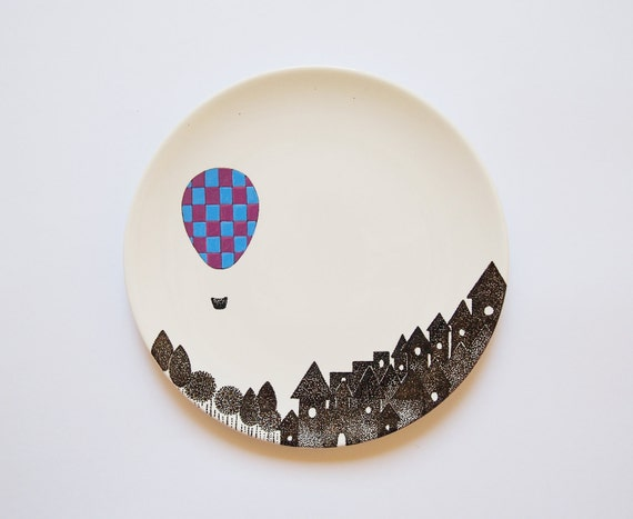 Night Balloon - Porcelain wall plate