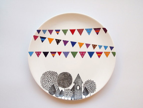 Items similar to village wall plate on etsy for Cute pottery designs