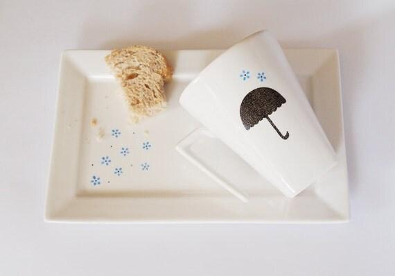 Blue Rain Coffe/Tea individual set - Cup & Tray - Free shipping