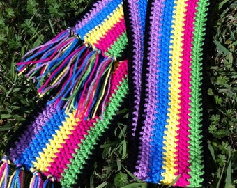 Handmade colorful Crochet Scarf Winter Accessory Gift Ideas For Her