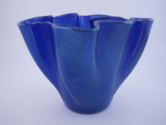Fused Glass Vase and Candle Holder in Royal Blue Iridescent