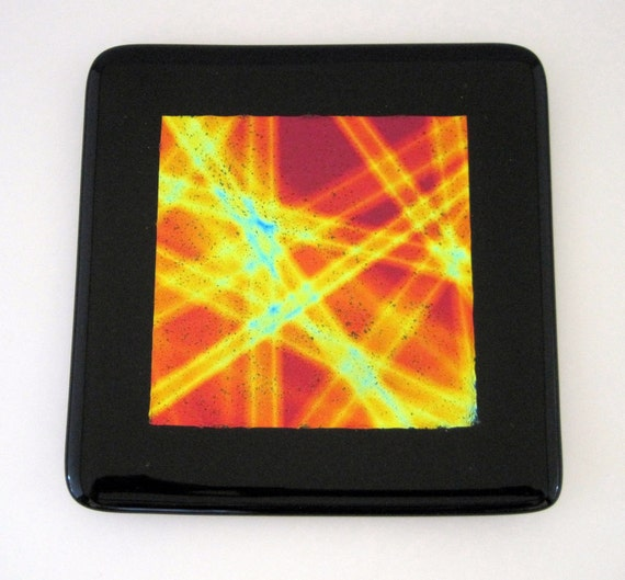 Black with Dichroic Center Fused Glass Plate