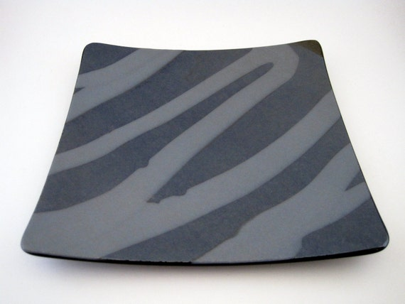 Black and Silver Iridescent Swirl Fused Glass Plate