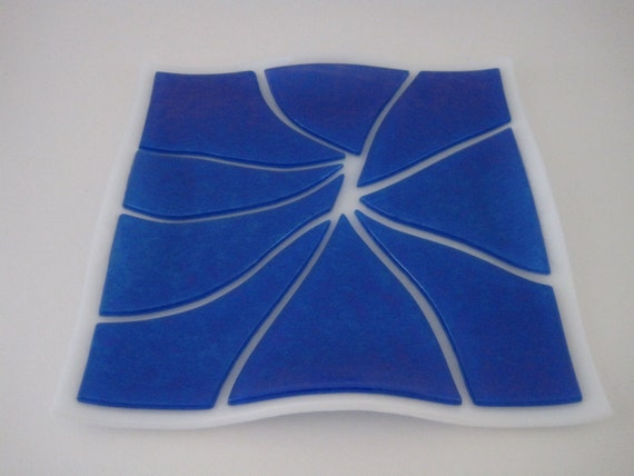 Blue Iridescent on White Fused Glass Plate