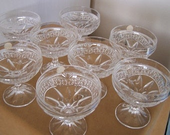 Vintage 50's Set of 8 Ice Cream or Dessert Pedestal Bowls/Dishes Hand Cut Crystal Made in Yugoslavia.