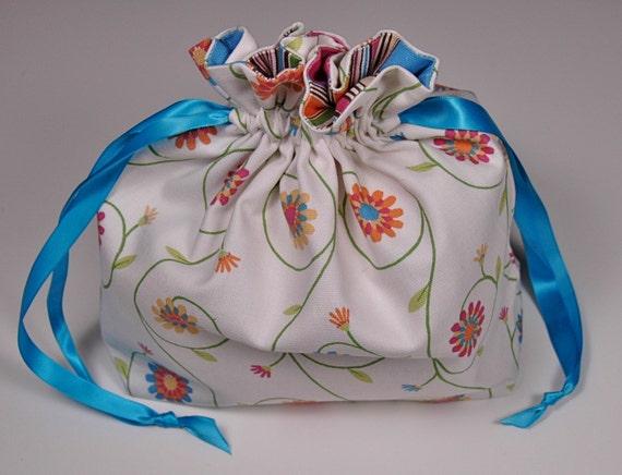 Knitting Project Bag -- Flower Power --