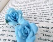 75% MARKDOWN - Something blue - rose vintage shoe clips - bride wedding shoes - tiffany blue