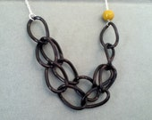 Infinity necklace - black links, silver chain with a vintage bead gift for her