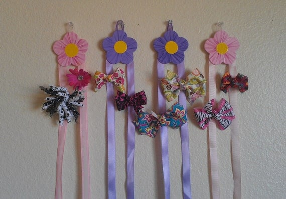 Flower style 2 Girls Hair bow & Barrette holder