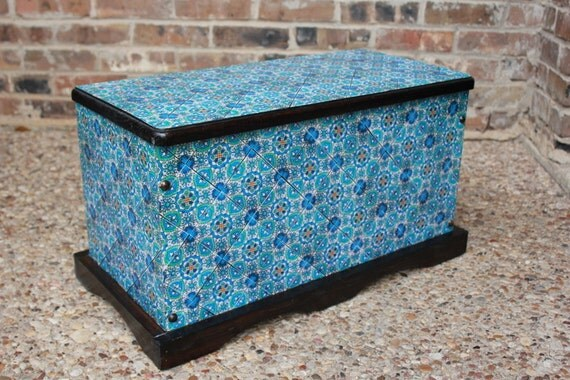 Cot In A Box Morocco Turquoise: Items Similar To Decoupage Storage Trunk