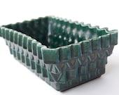 Green Ceramic Upco Planter Mid Century Zig Zag Pattern