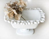 Footed Pure White Glass Decorative Dish