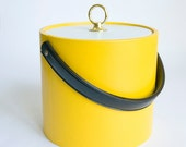 Yellow Ice Bucket, Black Handle, White Lid with Gold Plated Knob, Vintage Housewares