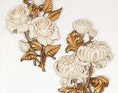 Homco Roses and Chrysanthemums Gold & Cream Large Pair Wall Decor Plaques 1962 Hollywood Regency