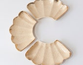 California Pottery Faux Wood Grain Cream Ceramic Serving Dishes Set of Three Scalloped Gold Edges