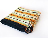 Vintage Afghan Orange Black Green Cream Stripes Retro Mid Century Design