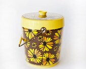 Vintage Ice Bucket Daisies Yellow Brown
