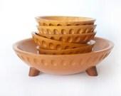 Munising Bowls Carved Wooden Pedestal Bowl Set of 7 Blonde Maple Wood 1930s Salad Bowl Set Vintage Kitchen Modern Style