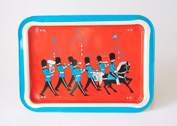 Vintage Metal TV Tray Marching Band Horse Castle