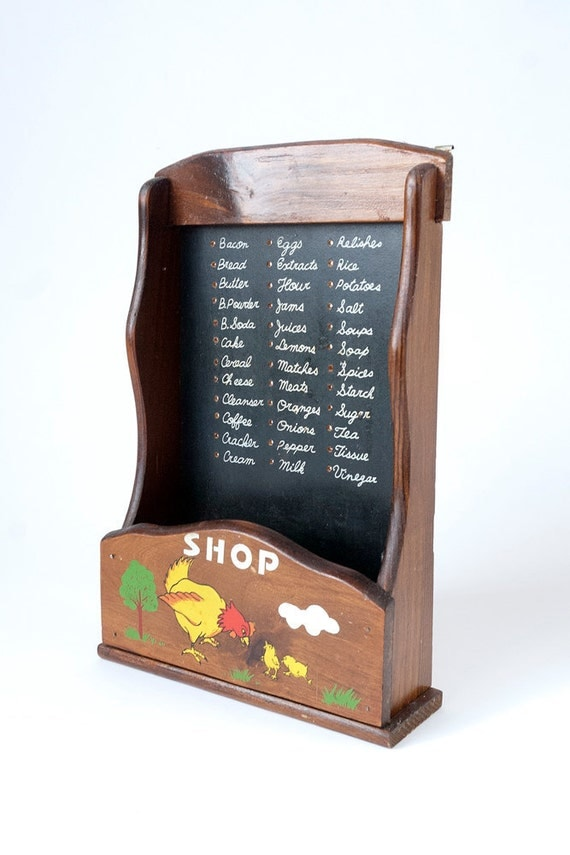 Kitchen Wall Hanging Grocery/Shopping List w/small shelf Shop Vintage Wood Farmhouse