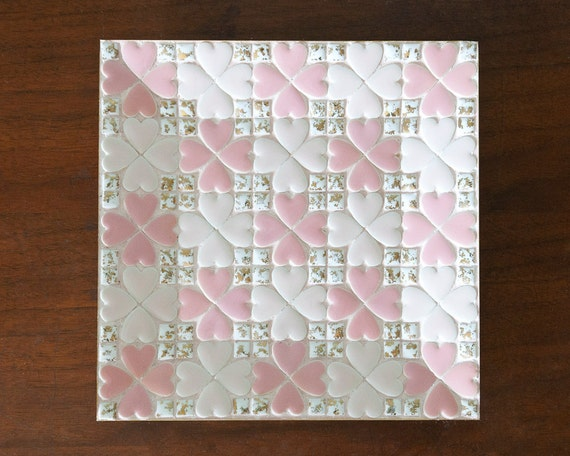 Mosaic Tile Dish Pink Heart Clovers Mid Century