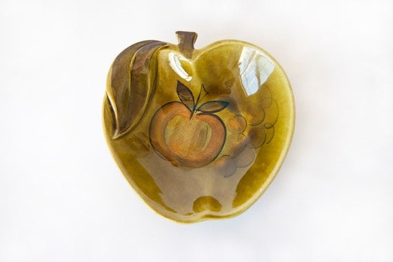 Ceramic Apple Shaped Dish California USA Pottery 1965 Green Fruit Small Dish