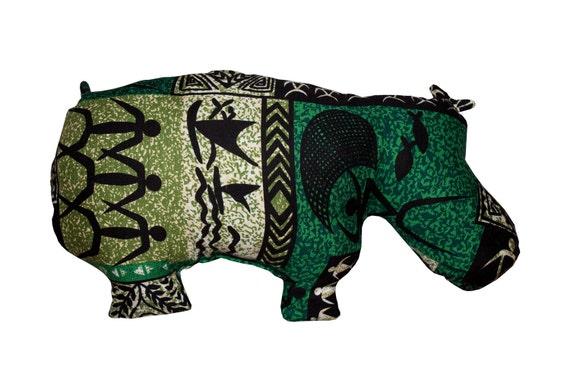 Hippo Pillow - Green African Design