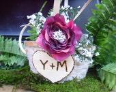 Rustic Wedding Flower Girl Basket Personalized
