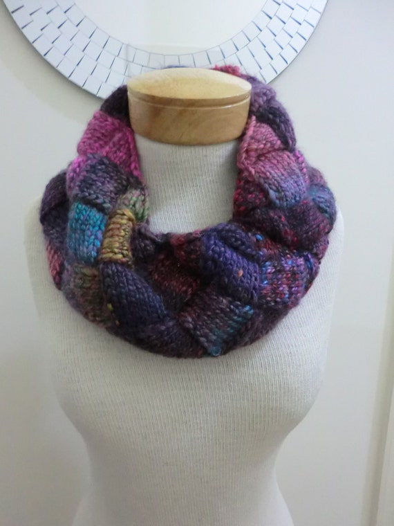 Entrelac Cowl Knitting Pattern : Entrelac Womens Cowl Neckwarmer Infinity Scarf in Wool Super