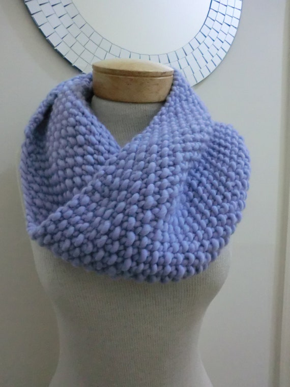 Cowl, Neckwarmer, Infinity Scarf in Virgin Wool With Light Blue and Lavender Colors