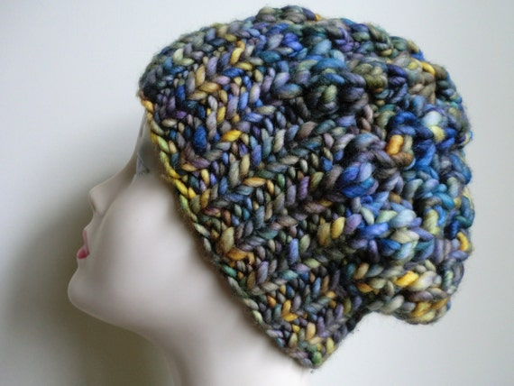 CLEARANCE Shroom Hat in Merino Wool with Yellow, Purple, Blue and Green Colors