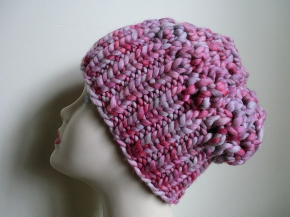CLEARANCE Hat in Merino Wool with Pink and Gray Colors