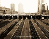 Railroad Photo Print - Sepia Train Tracks - Fine Art Photography - Toronto Union Station Skywalk