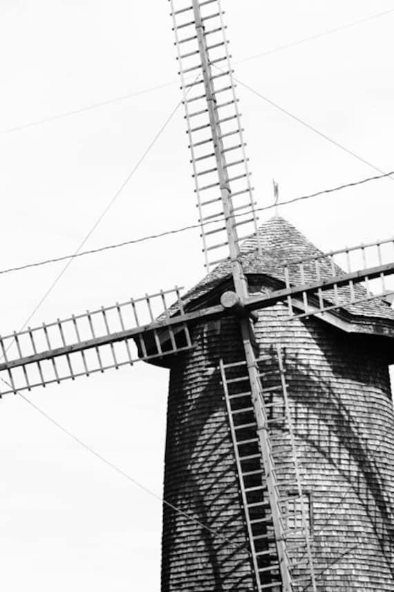 Windmill Photo Print, Black and White, Cape Cod  Massachusetts, Fine Art Photography