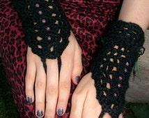 Gothic Black Crochet Gloves / Pink Beads / Black Lace Trim