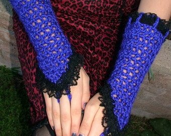 Gothic Purple Crocheted Gloves / Black Lace Trim