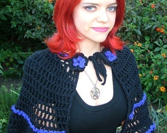 Handmade Victorian Style Gothic Black and Purple Crochet Cape Shawl